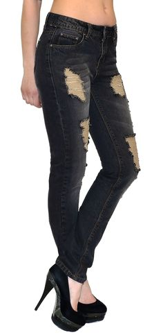 26e1b63ca99 Coole Damen Jeans Hose mit beliebten Rissen im Boyfriend-Look! Smala Jeans