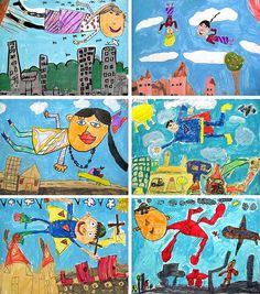 Here are a few more examples from our first grade Chagall project. Kids Art Class, Art Lessons For Kids, Art Lessons Elementary, Art For Kids, Classroom Art Projects, School Art Projects, Art Classroom, First Grade Art, 2nd Grade Art