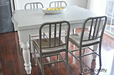 She's crafty: Grey and White painted kitchen table