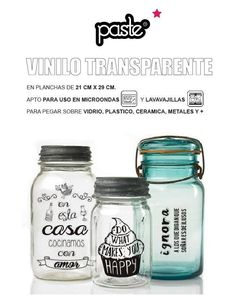 etiquetas adhesiva vinilo transparente. 21x29cm fecilidad Home Goods, Mason Jars, Packaging, Cool Stuff, Diy, Crafts, Silhouette, See Through, Vases