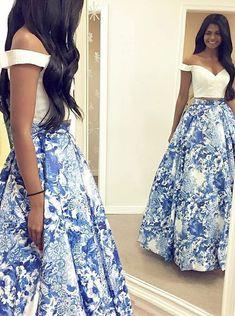 Two Piece Off-the-Shoulder Floor Length Blue Floral Satin Prom Dress M2769