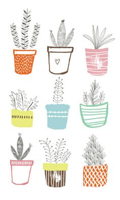 Quirky Cute Vector Illustration Plants · Inspiration for Illustration + Art + Graphic Design Projects Plant Illustration, Cute Illustration, Greeting Card Companies, Watercolor Wallpaper, Mid Century Modern Art, Milk And Honey, Floral Illustrations, Kids Prints, Plant Design