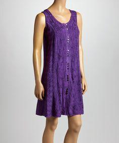 Love this Dark Purple Floral Embroidered Sleeveless Dress by Shabri Fashions on #zulily! #zulilyfinds