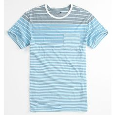 On The Byas Billy Stripe Crew Pocket Tee ($17) ❤ liked on Polyvore featuring tops, t-shirts, men, blue t shirt, crewneck t shirt, striped crew neck t shirt, stripe t shirt and pocket t shirts