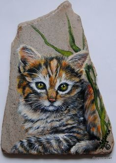 handpainted rock,cat,animals,collectible,art,slate,kitten,original rock art