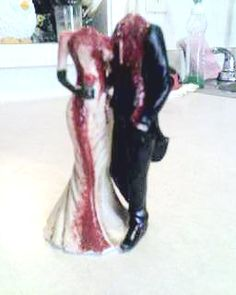 DIY~Wedding cake topper. We lost our heads! Dollar store broken/headless figurine hand painted. via Flickr, Offbeat Bride.