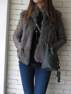 #fur #leather&fur #grey #jacket #bag #fashion #outfit2014 #fashion2014 #pigal #pigalboutique www.pigal.com