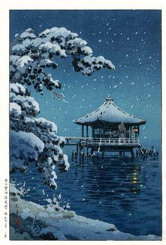 Tsuchiya Koitsu Snow at Katata from Kawase Hasui Japanese Woodblock Moonlit & Snow Prints