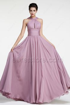 The Wisteria Purple bridesmaid dress is made of chiffon fabric, pleated straps, a slit in the middle of the pleated bodice, A Line skirt finishing with floor length.