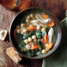 Onion, Kale, Chickpea, and Chicken Soup | MyRecipes.com