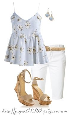 """Baby Blue, White and Tan"" by jaycee0220 ❤ liked on Polyvore featuring Vince, Ivanka Trump and YooLa"