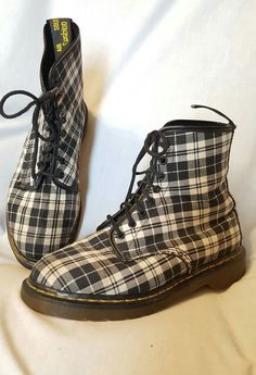 Doc Dr. Martens England sz 7 UK 9 US black and white plaid boots vintage canvas | Clothing, Shoes & Accessories, Women's Shoes, Boots | eBay! SOLD