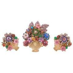 Stanley Hagler Tutti fruity basket of flowers brooch and earrings set