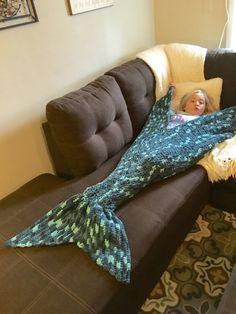 Mermaid Tail Blanket Handmade Crochet by PeekabowsMESCrochet