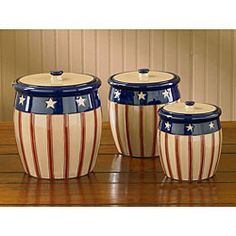 Americana Dinnerware | Park Designs Stars and Stripes Canisters (Set of 3) | Overstock.com