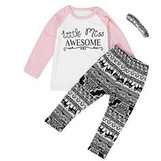 Floralby Letter Elephant Pattern Top + Pants + Headband Kids Girl Outfit. Please check detail size before you purchase the item to fit most, this is asian size. Cute letter print long sleeve top + elephant pattern pants and headband, it's a whole fashion unit design to make your kids cool and fashion. Made of cotton, it's comfortable to wear on any occasion. Great present for your little kids girl or your friends' child. Package Includes: 1 x Kids girl Outfit(Top + Pants + Headband).