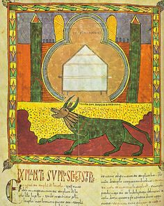 975-1000. The beast from the abyss, f.138v. Urgell Beatus