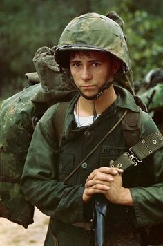 A young Marine private waits on the beach during the Marine landing Da Nang Vietnam 1965