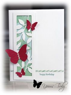 6/25/2013; Butterfly Birthday by YoursTruly at Splitcoaststampers; SU's Little Leaves and Beautiful Wings; Teeny Tiny Wishes stamp set