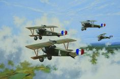Air combat patrol by pilots of the Lafayette Escadrille.