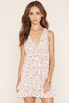 Floral Print V-Neck Mini Dress