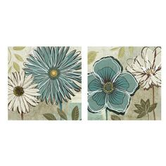 Depending on the paint you end up with in your bathroom, these might look nice and good size x2 of them.  BLUE DAISY WALL DÉCOR SET OF 2