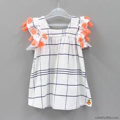 Pom Pom White Dress - Toddler & Girls