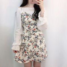 Korean Fashion Dress, Korean Dress, Ulzzang Fashion, Korea Fashion, Asian Fashion, Fashion Dresses, Ulzzang Style, Ulzzang Girl, Cute Fashion