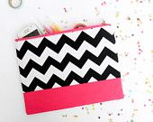 Chevron XLARGE zipper pouch 10 x 8 inch geometry color block brown coral.