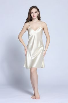 e49d67dab Satin V-neck chemise nightgown satin sleepwear sexy Tony Candice Satin  Nightie