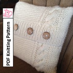 """Cable and Garter chunky knit 16"""" x 16"""" (40x40cm) pillow cover pattern by LadyshipDesigns. Click the photo to buy now!"""