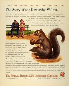 1945 Ad Mutual Benefit Life Insurance Squirrel Walnut Cartoon Park Father Girl | eBay
