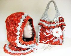 Hand Knitted Bag Crochet Hooded Christmas gift Crochet Accessories  Hand Crochet Ladies Hat  Bag Autumn Colors