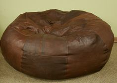 Custom Made Bean Bag Chair by Dakota Bison Leather. Sustainable enough, at least the color i mean. Leather Bean Bag Chair, Bean Bag Furniture, Bean Bags, Bison, Man Cave, At Least, Family Room, Culture, Technology
