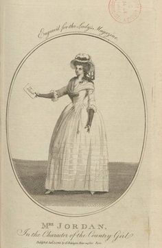 Mrs. Jordan, original plate p. Lady's Magazine Dec 1785 alongside a biography of the actress, who had this point had only been on the London stage a year.
