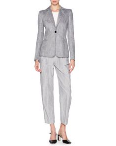 Houndstooth+One-Button+Jacket,+Short-Sleeve+Round-Neck+Top+&+Fine-Stripe+Cropped+Pants+by+Giorgio+Armani+at+Neiman+Marcus.
