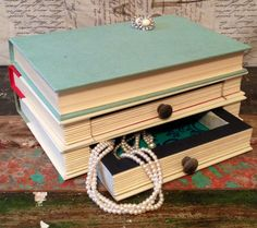 ~Book Jewelry Box~ Here we have a beautifully handcrafted jewelry box made from vintage books. Our team is always on the hunt for Vintage Books, Vintage Antiques, Jewellery Box Making, Book Jewelry, Handcrafted Jewelry, Handmade, Repurposed Items, Local Artists, Fabric Patterns