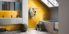 New Imola Shades yellow and grey bathroom
