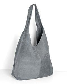 ImiLoa Lederhandtasche Tasche Shopper grau Wildleder Handtaschen Schultertaschen Beuteltasche Leder Wickeltasche Ledertasche DIN-A4 Damen