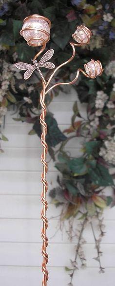 Dragonfly Garden Plant Stake Glass Copper Yard Art Lawn Ornament Outdoor Decor P #DragonflyDreams