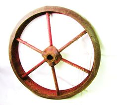 Antique Wheel Red Rusted Iron Industrial by TheOldTimeJunkShop, $32.00