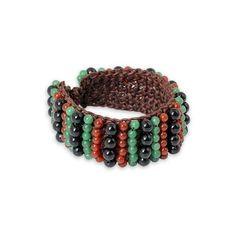 NOVICA Carnelian and Onyx Handmade Boho Wristband Bracelet ($40) ❤ liked on Polyvore featuring jewelry, bracelets, carnelian, wristband, macrame beaded bracelet, bohemian bracelet, adjustable bracelet, crochet beaded bracelet and adjustable bangle