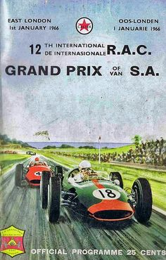 The 1966 South African Grand Prix started the new year off right on January 1 with the sound of revving F1 engines.  The 1966 race was held at the Prince George Circuit, in East London, South Africa and was won by British driver Mike Spence in a Lotus 33, followed by Swiss driver Jo Siffert's Brabham-BRM in P2 and the Lotus-Climax of British driverPeter Arundell in P3.