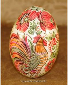 Ukrainian Hand Painted Goose Egg Pysanka Petrykivka - Wonderful Ukrainian Pysanka Goose Egg, that have been hand blown and hand painted. Pebble Painting, Stone Painting, Body Painting, Egg Crafts, Easter Crafts, Arts And Crafts, Contemporary Decorative Art, Painted Rocks, Hand Painted