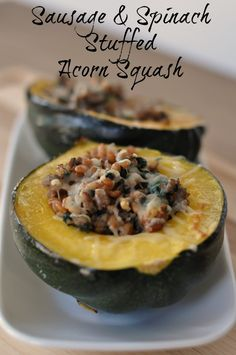 Sausage and Spinach Stuffed Acorn Squash - Mom 4 Real