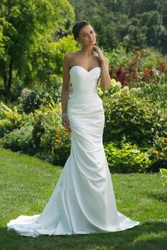 6f651cf7109e Strapless asymmetrical ruched satin fit and flare wedding gown - Sweetheart  Gown 11016