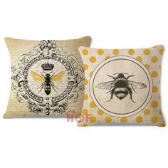 2 Pcs Modern Vintage French Queen Bee Yellow Throw Pillow Case Cushion Cover Set #HOF #FrenchCountry