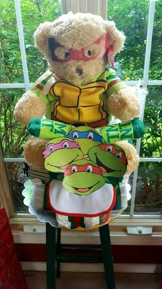 Ninja Turtle Tricycle Diaper Cake Made By Norma's Unique Gift Baskets.$88.