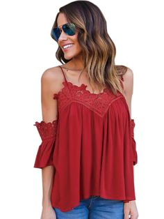 e8722fb069 XTX Womens Sexy Lace Trim Cut Out Shouder Slip Chiffon Tank Top M Red   See  this great product-affiliate link-affiliate link.