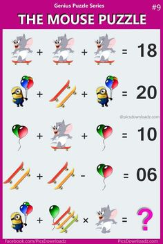 The Mouse Puzzle - Viral Logic Math Puzzle Image. Solve this fun math puzzle image. Viral Brainteasers Math Puzzles, Fun maths puzzle questions with answers. brain math puzzles for kids and adults. Math Puzzles Brain Teasers, Maths Puzzles, Puzzles For Kids, Maths Riddles, Logic Math, Iq Puzzle, Online Math Courses, Math Challenge, Fun Math Games